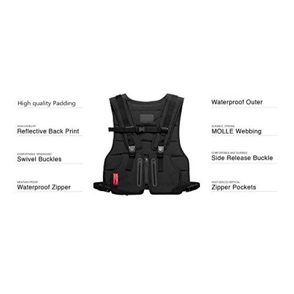 Armiya Airsoft Tactical Vest 2 Mens Molle Tactical Military Chest Rig Law Enforcement Work Reflective Vest Combat Condor Security Training Tool Pouch for Outdoor Paintball CS Game Airsoft Climbing Hiking (Black)
