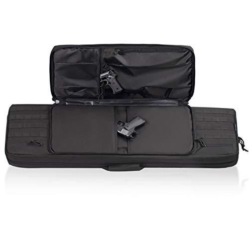 HUNTSEN  4 HUNTSEN Tactical Double Long Rifle Pistol Gun Bag Firearm Transportation Case Double Rifle Bag Outdoor Tactical Carbine Cases Water Dust Resistant Long Gun Case Bag