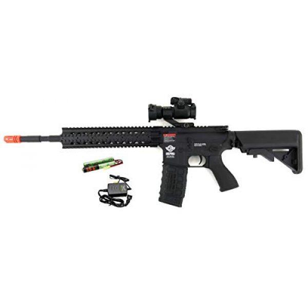 G&G Airsoft Rifle 1 G&G CM16 R8-L Combat Machine M4 AEG Airsoft Gun (Black) w/Red Dot Sight (Combo)