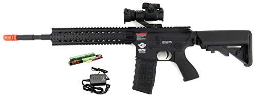 G&G  1 G&G CM16 R8-L Combat Machine M4 AEG Airsoft Gun (Black) w/Red Dot Sight (Combo)