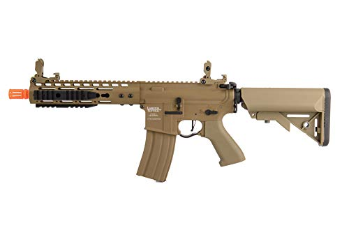 "Lancer Tactical  1 Lancer Tactical Proline 9"" KeyMod with Picatinny M4 Carbine AEG Airsoft Rifle Tan 395 FPS"