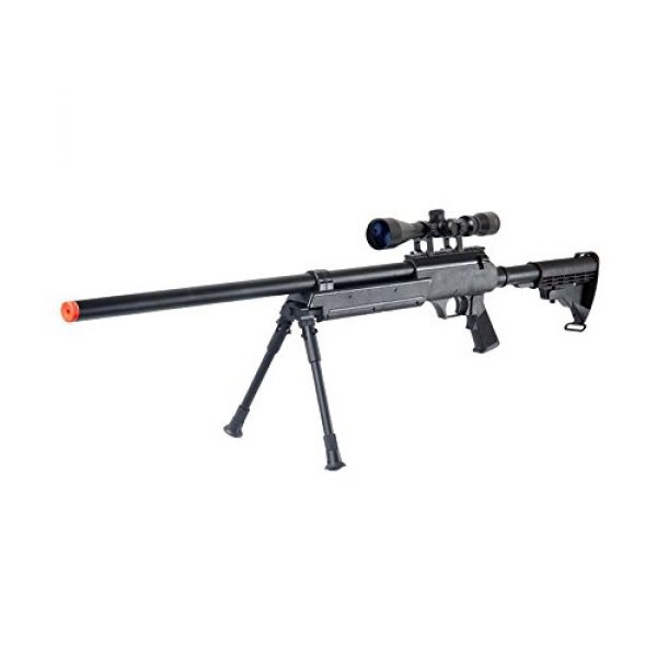 Well Airsoft Rifle 5 Well MB06AB Airsoft Bolt Action Sniper Rifle with Scope & Bipod FPS-460 - Black