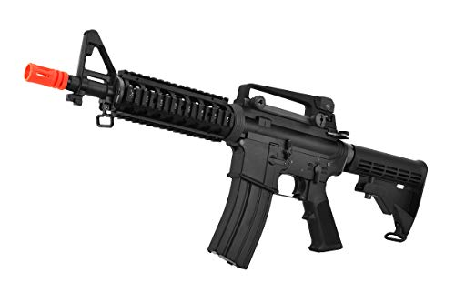 Lancer Tactical  4 Lancer Tactical WE Full Metal M4 CQB RIS Open Bolt Gas Blowback Airsoft Rifle Black 420 FPS