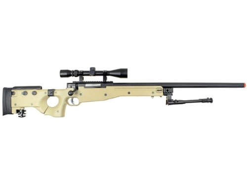 Well  1 Well l96 spring sniper airsoft rifle w/ bi-pod and scope (tan)(Airsoft Gun)