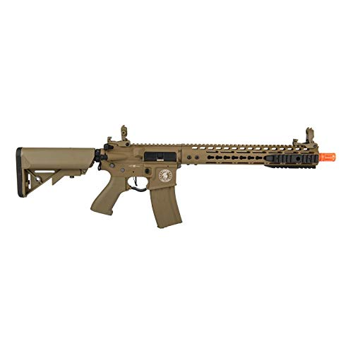 """Lancer Tactical  2 Lancer Tactical 12"""" KeyMod Rail with Picatinny Carbine AEG Airsoft Rifle Tan 395 FPS"""