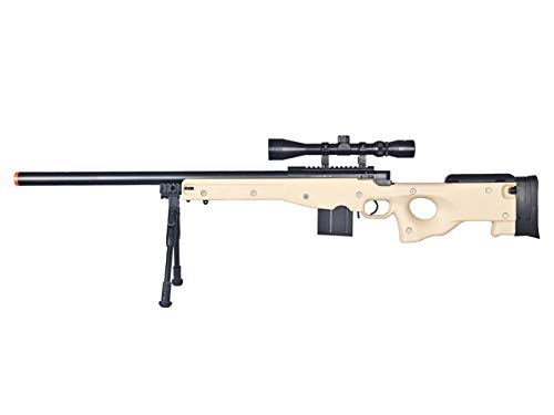 Well  1 Well MB4401 Airsoft Sniper Rifle W/Scope and Bipod - Tan