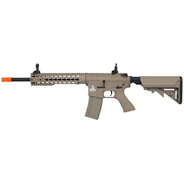 """Lancer Tactical Airsoft Rifle 1 Lancer Tactical Full Metal Gear with 10"""" Rail Interface System Polymer Body (Dark Earth)"""