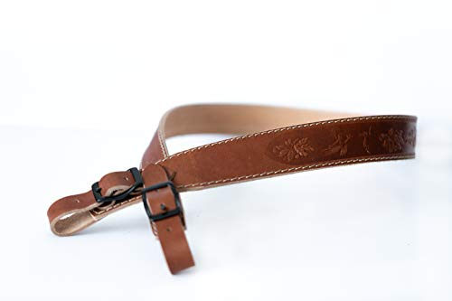 Lion Gear  3 Lion Gear Full-Grain Leather Rifle Sling Made in America and Stamped with Beautiful Hand-Carved Nature Images and Heavy Duty Buckles