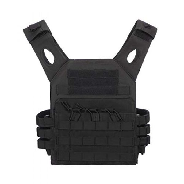 Jipemtra Airsoft Tactical Vest 1 Jipemtra Tactical Airsoft Vest for Kids Outdoor Molle Breathable JPC Vest Game Protective Vest Adjustable Modular Chest Set Vest CS Field Vest Training Vest (Black #1)