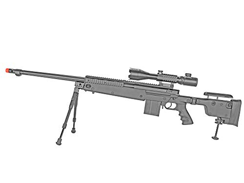 BBTac  2 BBTac Well MB04 G-22 AWM Airsoft Sniper Rifle with 3-9 x 40 Scope and Bi-Pod