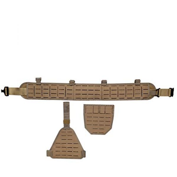 DETECH Airsoft Tactical Vest 3 DETECH Molle Padded Modular Belt Sleeve Tactical Inner Belt Drop Leg Platform Panel, Hip Panel Laser Cutting PALS Combo