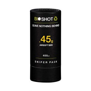BioShot Airsoft BB 1 BioShot Biodegradable Airsoft BBS - .45g Super Slick Seamless Sniper Weight Competition Match Grade for All 6mm Airsoft Guns and Accessories (400 Round Sniper Pack, White)