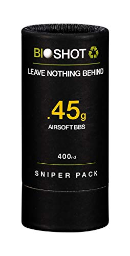 BioShot  1 BioShot Biodegradable Airsoft BBS - .45g Super Slick Seamless Sniper Weight Competition Match Grade for All 6mm Airsoft Guns and Accessories (400 Round Sniper Pack