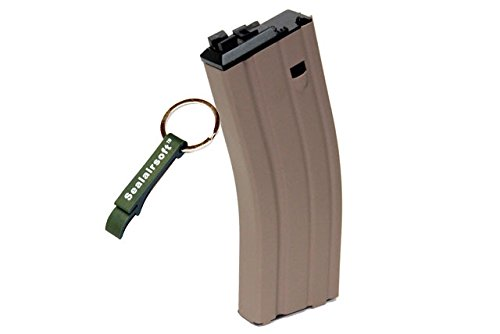 WE  1 WE 30rds Open Bolt Airsoft Gas Magazine Scar / L85 / M4 Series GBB TAN -Mobile Ring Included