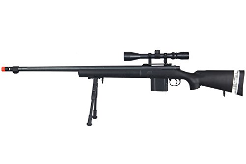 Well  1 Well MB4405BAB Spring Sniper Airsoft Rifle w/Scope & Bipod (Black)