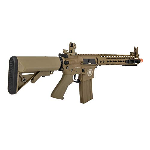 """Lancer Tactical  3 Lancer Tactical 12"""" KeyMod Rail with Picatinny Carbine AEG Airsoft Rifle Tan 395 FPS"""