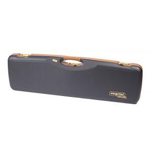 Negrini Cases Rifle Case 1 Negrini Cases 1654LX/5166 O/U Sporter Shotgun Case with Barrel Upright and Forend Off/Accessory Compartment and Luxury Interior, Premium Tan Leather/Blue/Blue