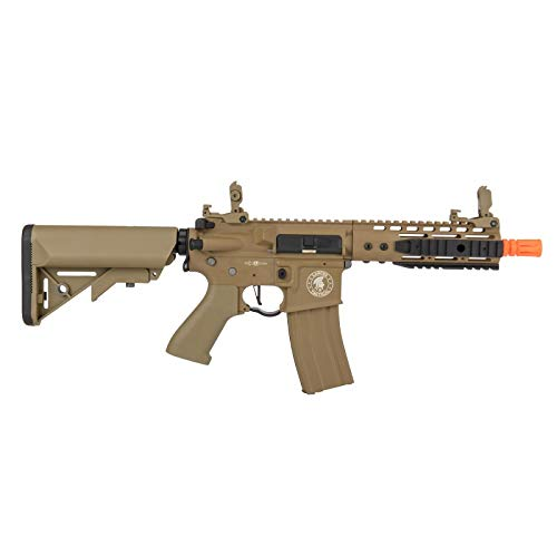 "Lancer Tactical  2 Lancer Tactical Proline 9"" KeyMod with Picatinny Carbine AEG Airsoft Rifle Tan 395 FPS"