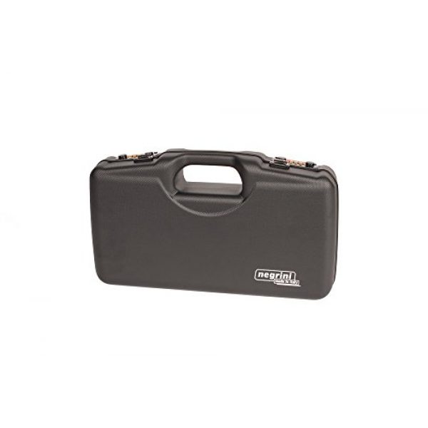 Negrini Cases Pistol Case 2 Negrini Cases 2018TS/4835 Compact Handgun Case for ABS 1 Gun W/Acc/Pluck-n-Pull Die Cut Foam, Black/Black