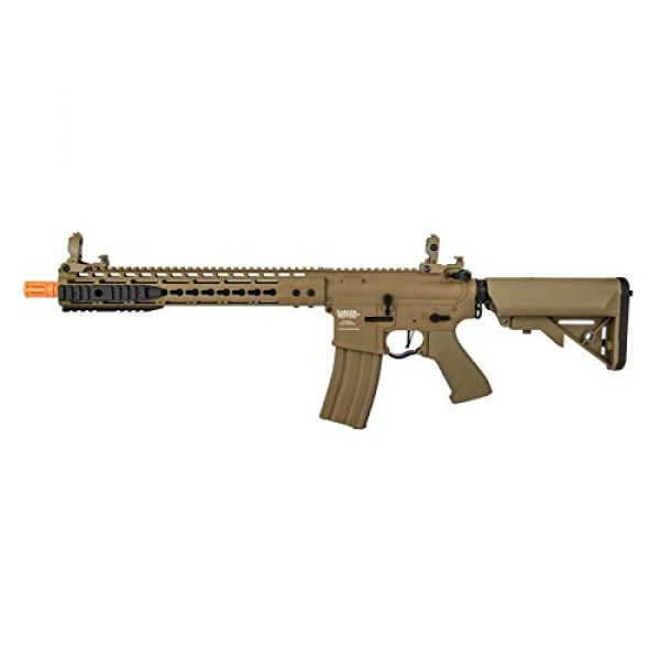 """Lancer Tactical Airsoft Rifle 1 Lancer Tactical 12"""" KeyMod Rail with Picatinny Carbine AEG Airsoft Rifle Tan 395 FPS"""