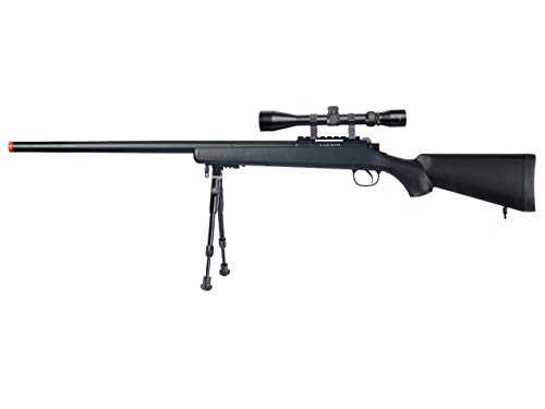 Well  1 Well MB03 Airsoft Sniper Rifle W/Scope and Bipod - Black