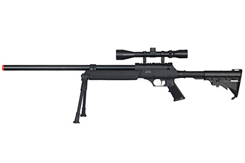 Well  1 Well Full Metal ASR MB06 SR-2 Spring Sniper Rifle Airsoft Gun (Black/Scope & Bipod Package)