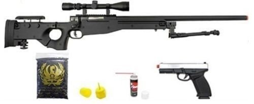 Prima USA  1 well l96 bolt action airsoft sniper rifle hfc metal gas blowback pistol combo pk(Airsoft Gun)