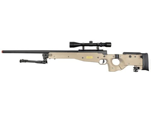 Well  2 Well l96 spring sniper airsoft rifle w/ bi-pod and scope (tan)(Airsoft Gun)