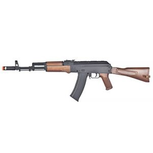 Well Airsoft Rifle 1 Well Tactical AK-47 CQB AEG Semi/Full Auto Electric Airsoft Rifle Gun High Capacity Magazine FPS 290 (Black/Wood)