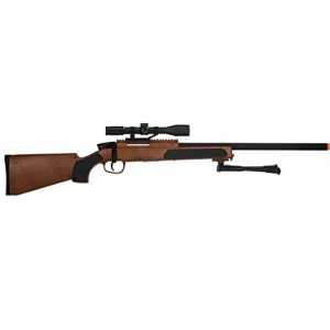 UKARMS Airsoft Rifle 1 415 FPS Spring Powered Bolt Action Airsoft Sniper Rifle w/BiPod & Scope(Wood)