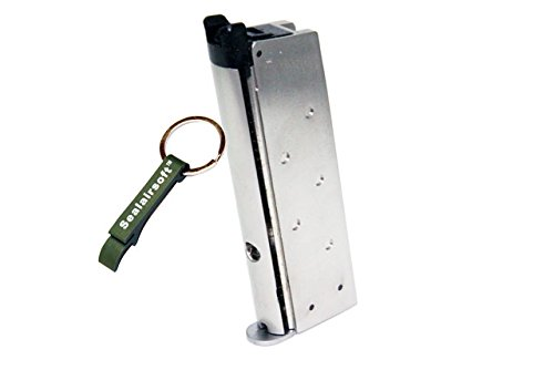 WE  1 WE 13rds Airsoft Gas Magazine For WE Mini 1911 / 3.8 Series GBB Silver -Mobile Ring Included