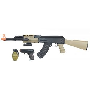UKARMS Airsoft Rifle 1 UK ARMS Airsoft AK47 Airsoft Electric Rifle AEG Semi and Full Auto - TAN -