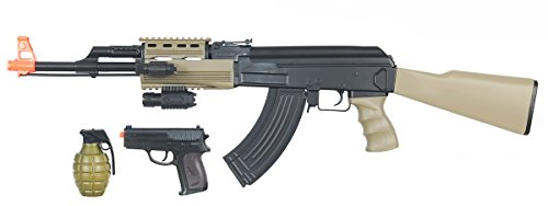 UKARMS  1 UK ARMS Airsoft AK47 Airsoft Electric Rifle AEG Semi and Full Auto - TAN -