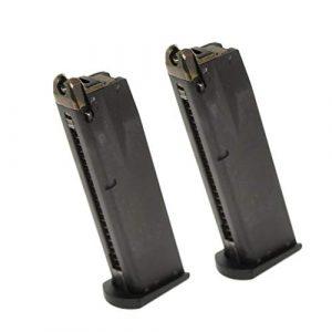 Generica Airsoft Gun Magazine 1 Airsoft Spare Parts 2pcs 24rd Gas Mag Metal Magazine for M9 Series GBB Pistol Black