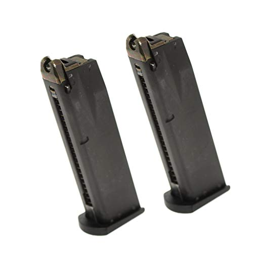 Generica  1 Airsoft Spare Parts 2pcs 24rd Gas Mag Metal Magazine for M9 Series GBB Pistol Black