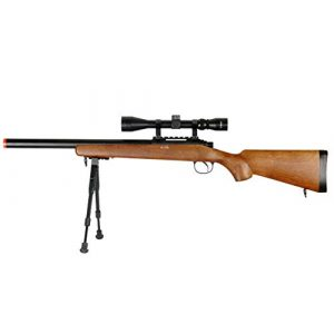 Well Airsoft Rifle 1 Well MB02 Airsoft Sniper Rifle W/Scope and Bipod - Wood
