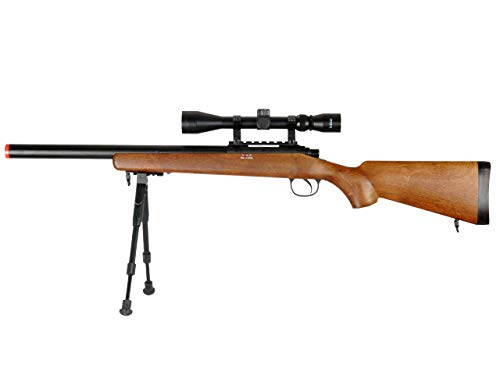 Well  1 Well MB02 Airsoft Sniper Rifle W/Scope and Bipod - Wood