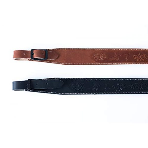 Lion Gear Airsoft Rifle Sling 2 Lion Gear Full-Grain Leather Rifle Sling Made in America and Stamped with Beautiful Hand-Carved Nature Images and Heavy Duty Buckles