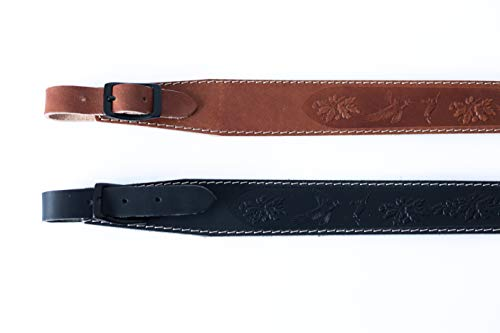 Lion Gear  2 Lion Gear Full-Grain Leather Rifle Sling Made in America and Stamped with Beautiful Hand-Carved Nature Images and Heavy Duty Buckles