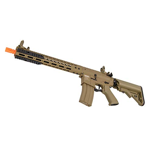 """Lancer Tactical  4 Lancer Tactical 12"""" KeyMod Rail with Picatinny Carbine AEG Airsoft Rifle Tan 395 FPS"""
