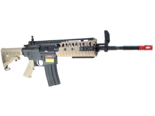 Jing Gong (JG)  3 JG airsoft m4 s-system full metal gearbox desert tan aeg rifle w/ integrated ris and high performance tight bore barrel - newest enhanced model(Airsoft Gun)