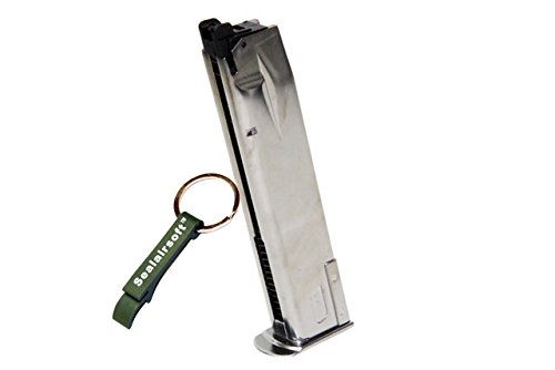 WE  1 WE 30rds P226 Airsoft Gas Magazine for P Viruses GBB Pistol (Silver) -Mobile Ring Included