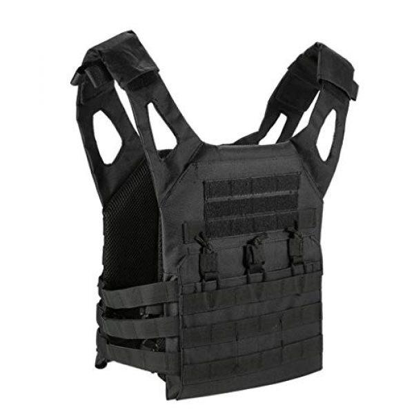 Jipemtra Airsoft Tactical Vest 2 Jipemtra Tactical Airsoft Vest for Kids Outdoor Molle Breathable JPC Vest Game Protective Vest Adjustable Modular Chest Set Vest CS Field Vest Training Vest (Black #1)