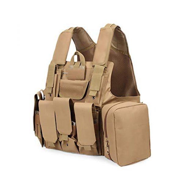 WEQ Airsoft Tactical Vest 1 WEQ Tactical Molle Airsoft Vest Paintball Combat Training Vest Adjustable (Color : Beige)