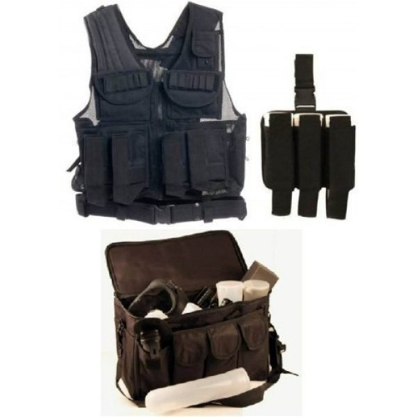 Ultimate Arms Gear Airsoft Tactical Vest 1 Ultimate Arms Gear Stealth Black Paintball Airsoft Battle Gear Tank - Armor Pod Vest +Triple Universal Paintball 3 Pods Drop Leg Carrier Pouch Utility Rig Harness + Black Equipment Shooting Range Bag