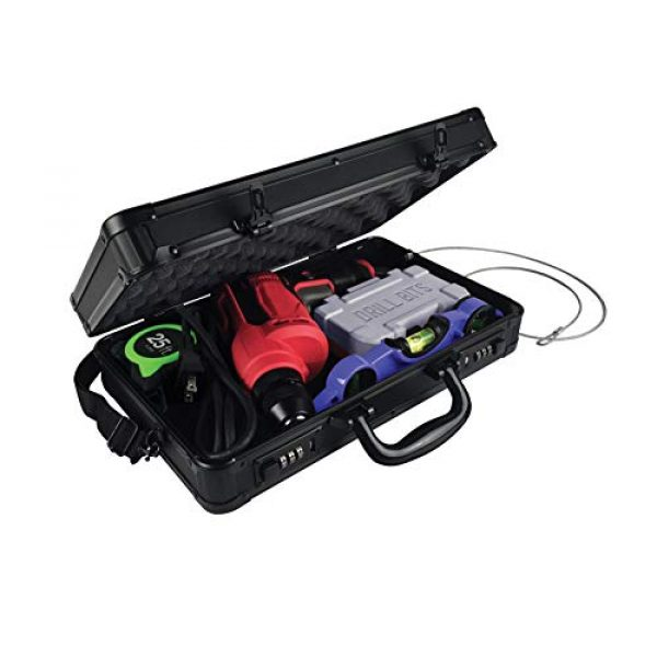 Vaultz Pistol Case 3 Vaultz Locking Pistol Case with Tether, Tactical Black, VZ00812, Large