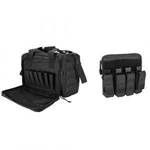 ProCase Pistol Case 1 ProCase Tactical Gun Range Bag for Handguns, Pistols and Ammo Bundle with Tactical Pistol Mag Pouch -Black