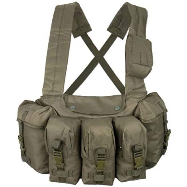 CamoOutdoor Airsoft Tactical Vest 1 Military Tactical Magazine Chest Rig Carry Vest 6 Pockets Olive