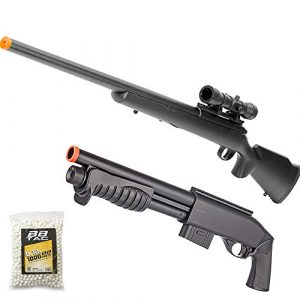 BBTac Airsoft Rifle 1 BBTac Airsoft Gun Package - American Sniper - Powerful Spring Sniper Rifle, Shotgun, and BB Pellets, Great for Starter Pack Game Play