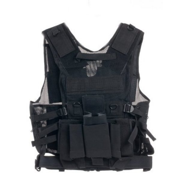 Ultimate Arms Gear Airsoft Tactical Vest 2 Ultimate Arms Gear Stealth Black Paintball Airsoft Battle Gear Tank - Armor Pod Vest +Triple Universal Paintball 3 Pods Drop Leg Carrier Pouch Utility Rig Harness + Black Equipment Shooting Range Bag